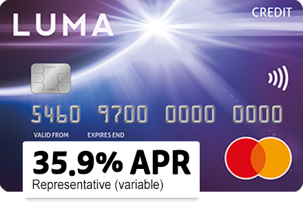 Luma card. 35.9% APR Representative (variable)